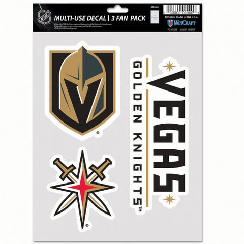 Vegas Golden Knights Multi Use 3 Pack Fan Decals