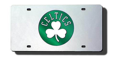 Boston Celtics Laser Cut Silver License Plate