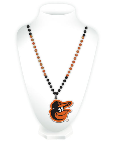 Baltimore Orioles Mardi Gras Beads with Medallion