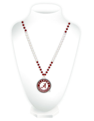 Alabama Crimson Tide Mardi Gras Beads with Medallion