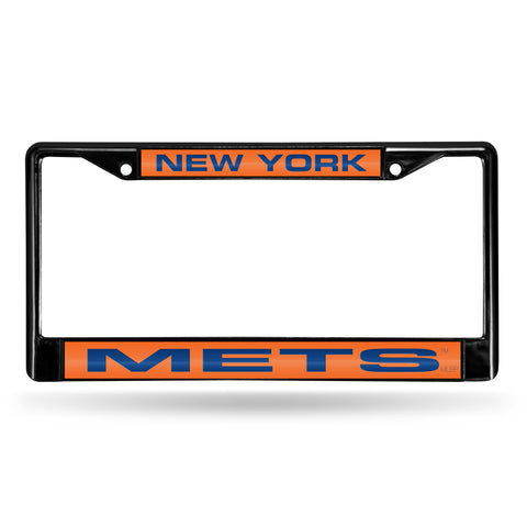 New York Mets Black Metal Laser Cut License Plate Frame