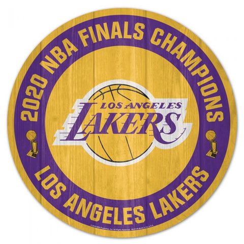 Los Angeles Lakers 2020 NBA Champions Round Wood Sign 10x11