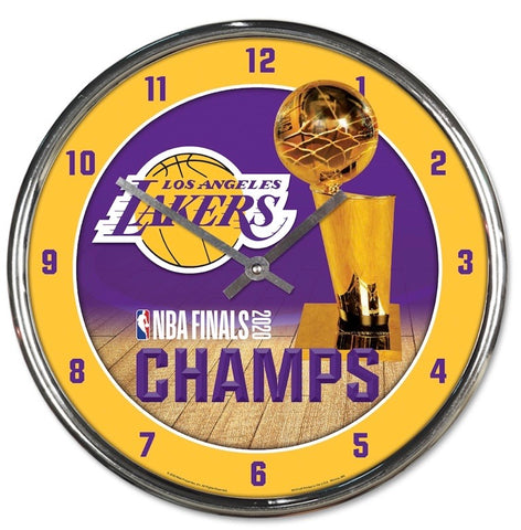 Los Angeles Lakers 2020 NBA Champions Chrome Wall Clock