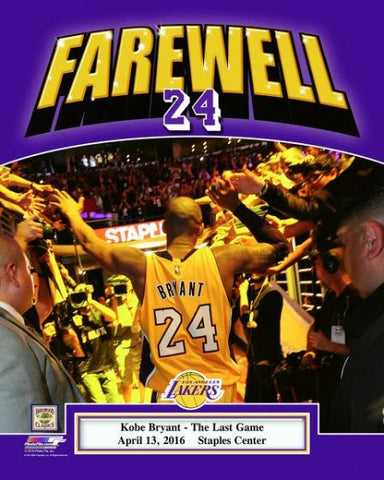 Los Angeles Lakers Kobe Bryant Farewell Licensed 8x10 Photo