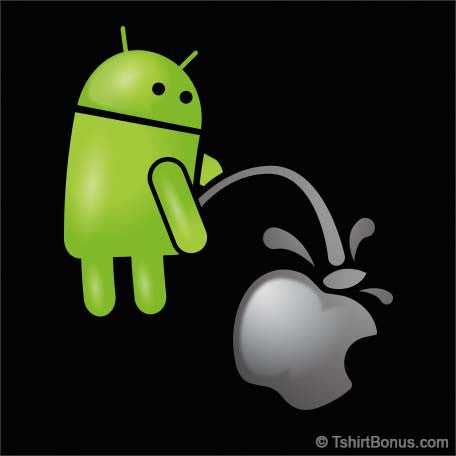 Android Pissing On Apple Parody T-Shirt