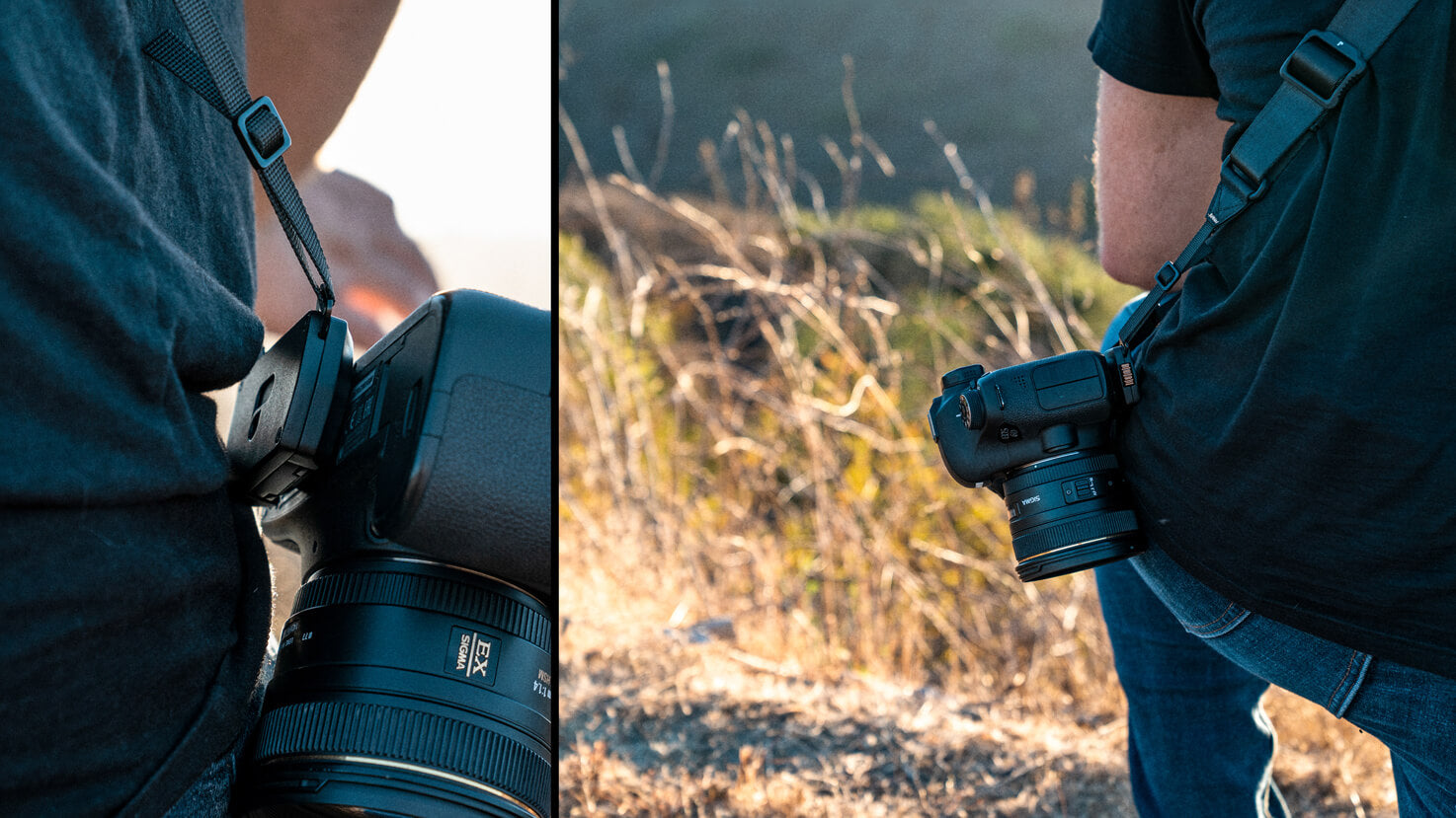 Enhanced Carry Profile lays your camera at your side for all day comfort.