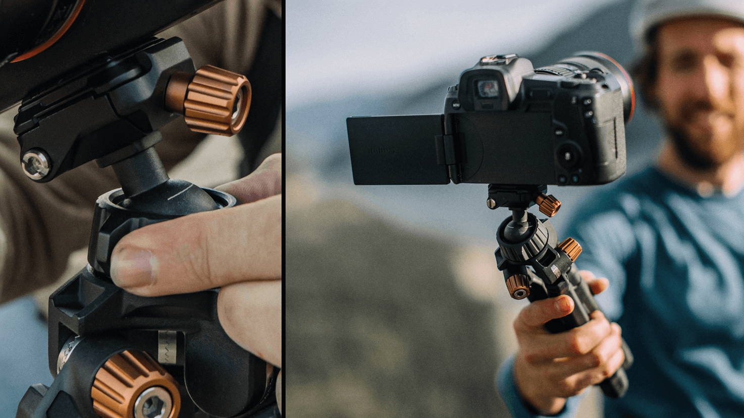 Integrated Ball-Head to achieve your ideal camera angle.