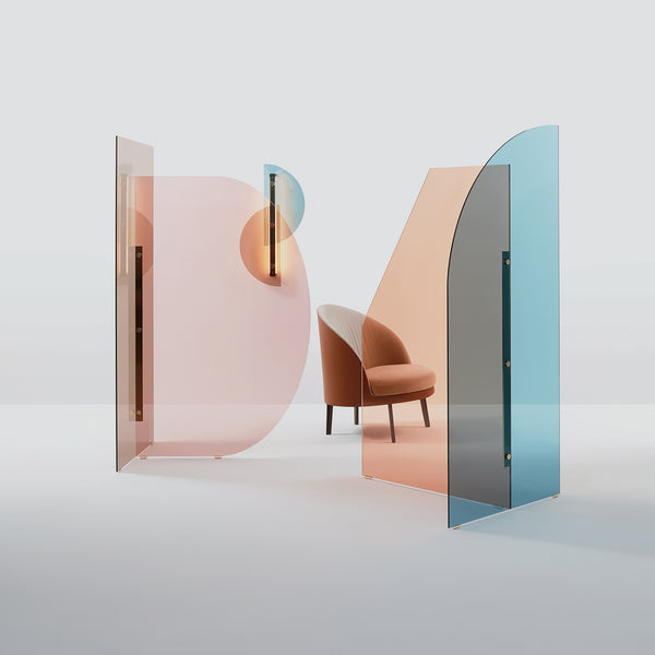 Vela Room Divider - Blue & Pink - Monologue London