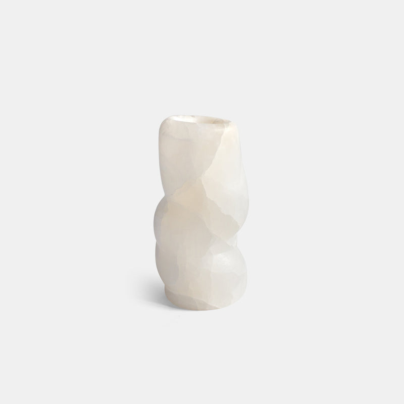 Fat Rolls Vase - Small, White Onyx - Monologue London