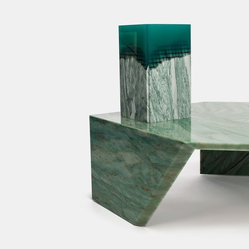 Origami Marble Table - Verde Acquamarina