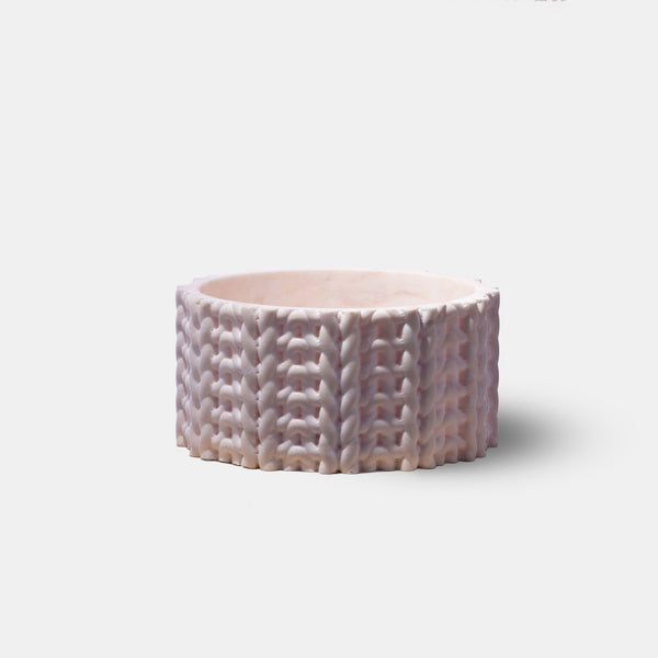 Tricot Vase - Short, Pink Marble - Monologue London