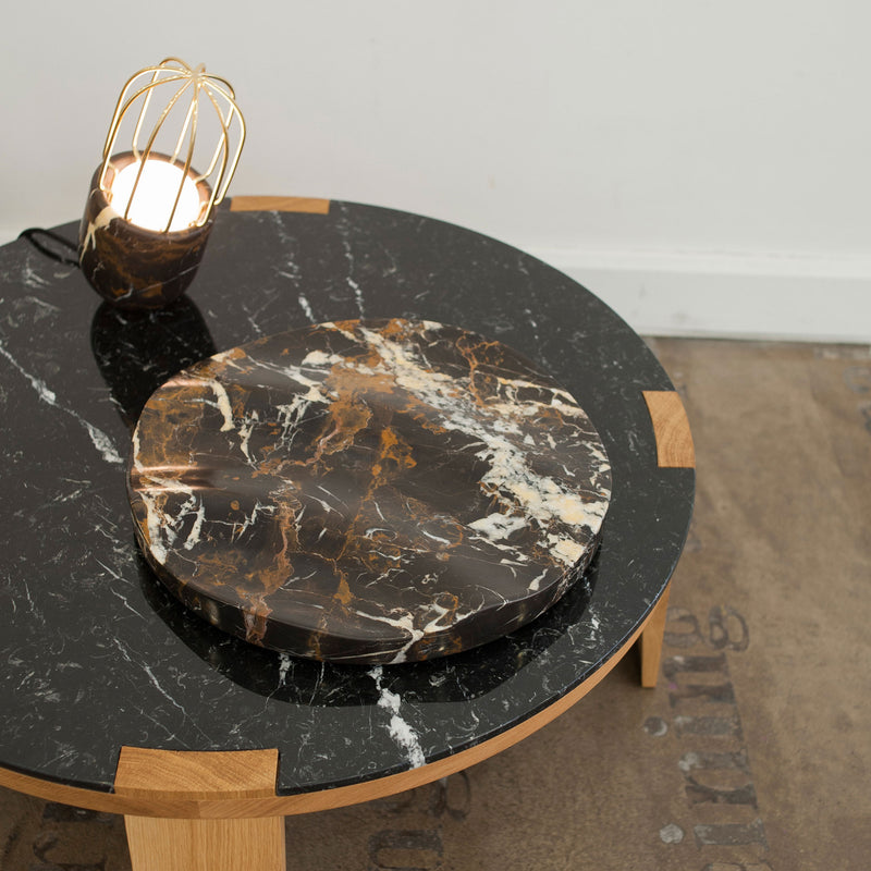 Ripple Fruit Bowl - Black & Gold Marble - Monologue London
