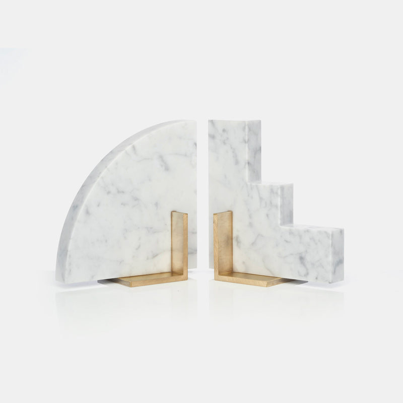Odd Couple Bookends - Carrara Marble - Set of Two - Monologue London