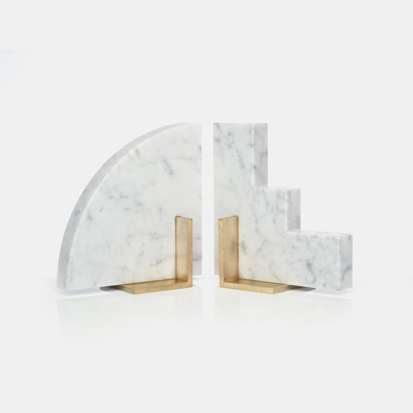 Odd Couple Bookends - Carrara Marble