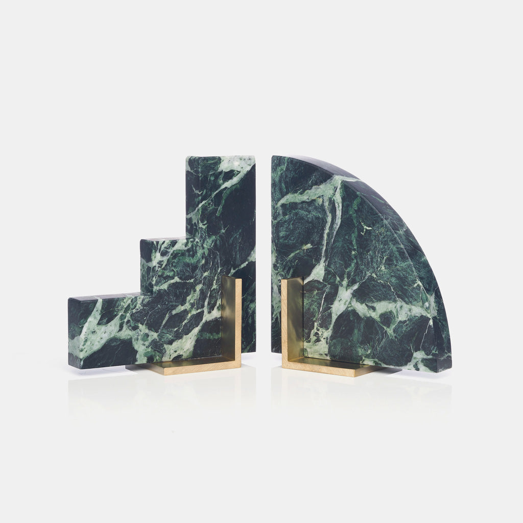 Odd Couple Bookends - Verde Alpi Marble - Monologue London