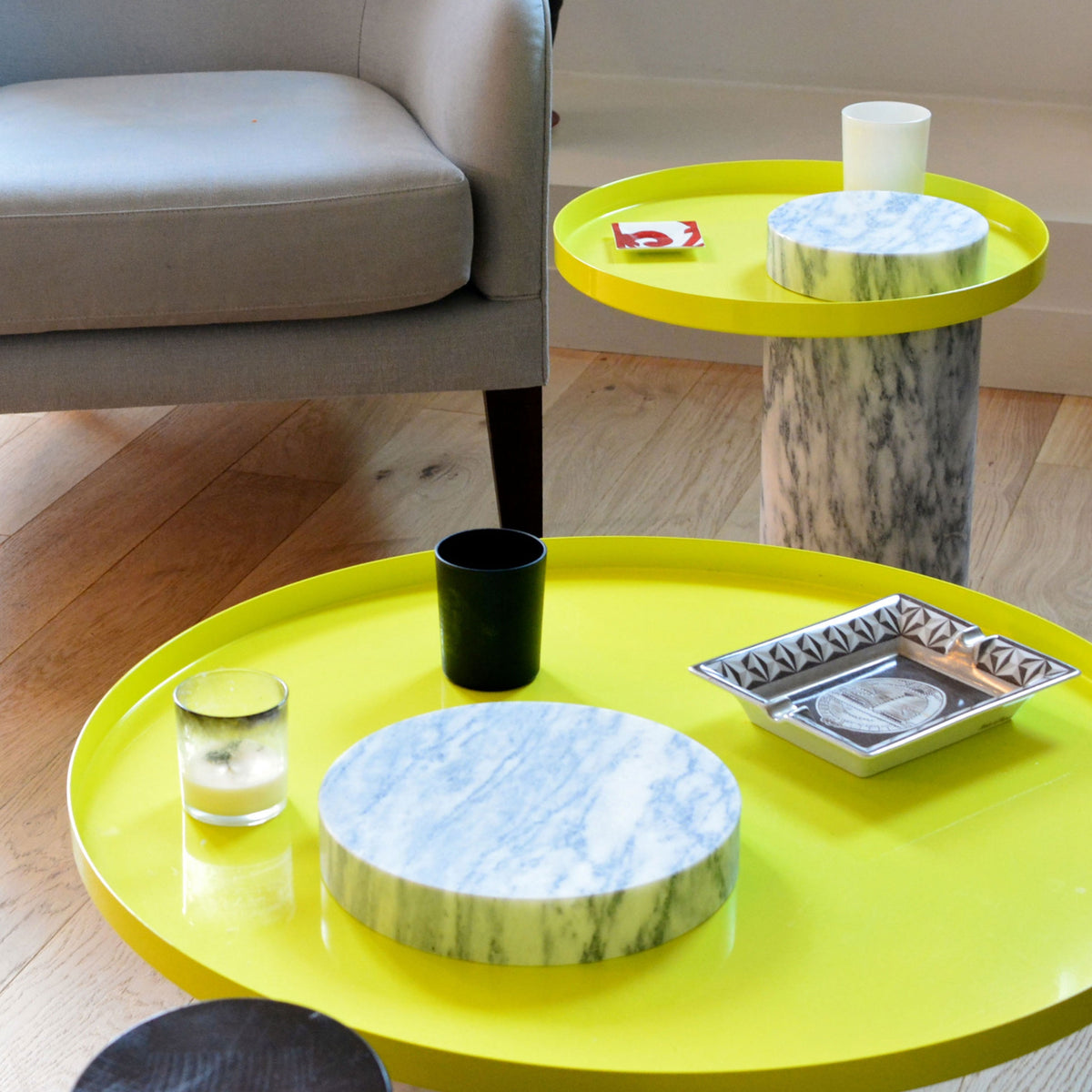 Salute Coffee Table - White Marble Column & Yellow Tray - Monologue London