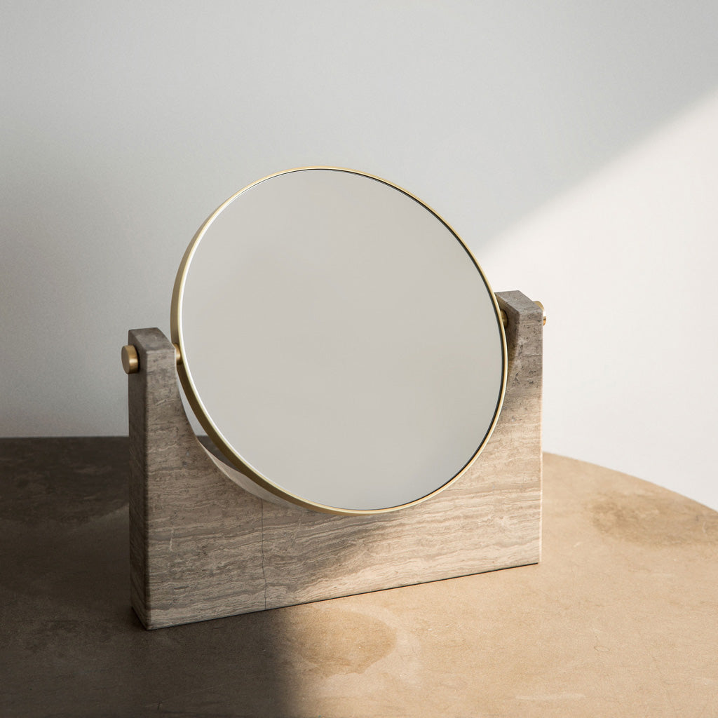 Pepe Marble Desk Mirror, Brown marble - Monologue London