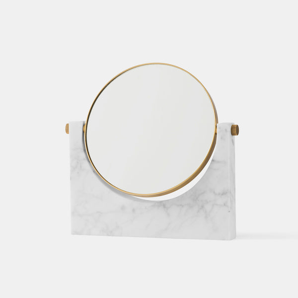 Pepe Marble Desk Mirror, white marble - Monologue London