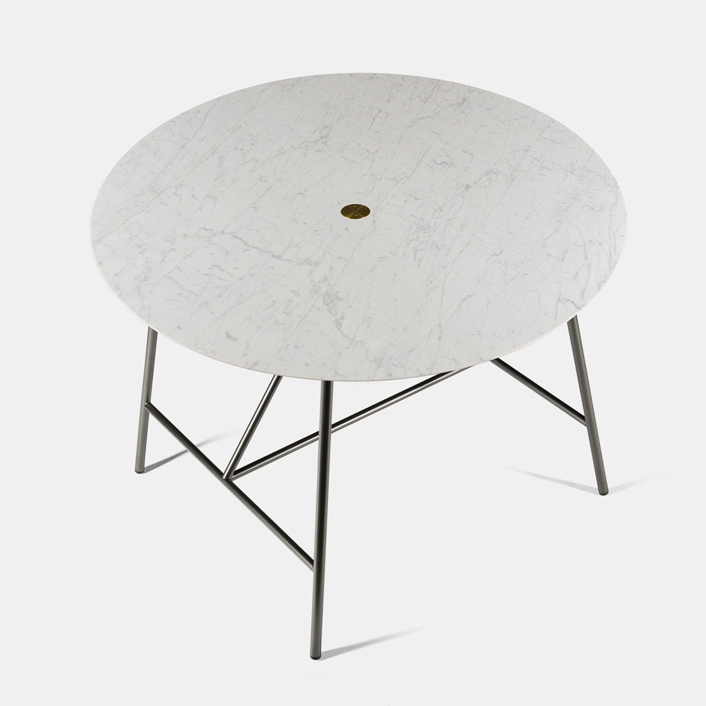W Dining Table - Round, Bianco Carrara Honed - Monologue London