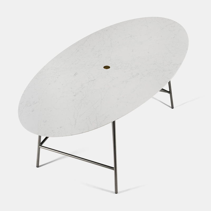 W Dining Table - Oval, Bianco Carrara Honed - Monologue London