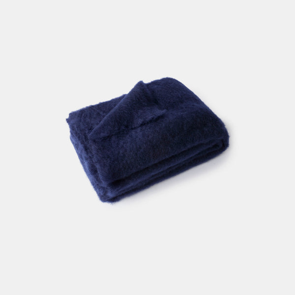 Mohair Blanket - Navy Blue - Monologue London