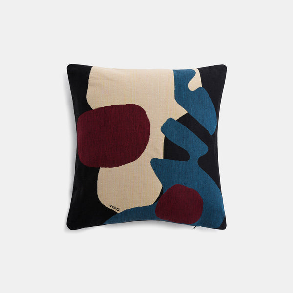 Tapestry Cushion - Black/Blue