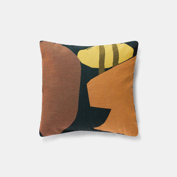 Tapestry Cushion - Black/Orange