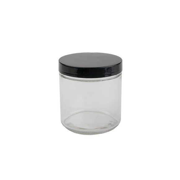 16oz Glass Jar -  Black Cap - 12ct