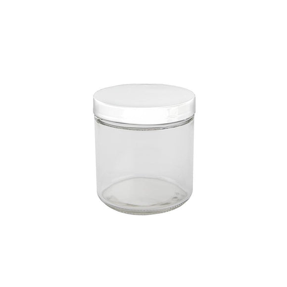 16oz Glass Jar -  White Cap - 12ct