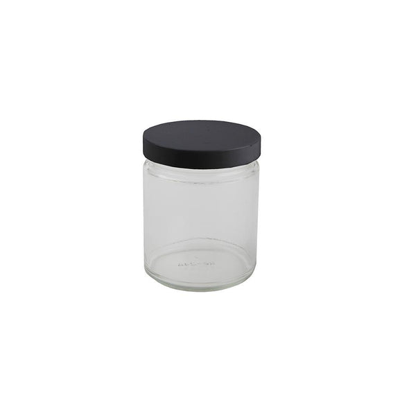 9oz Glass Jar -  Black Cap - 12ct
