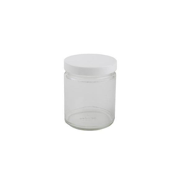 9oz Glass Jar -  White Cap - 12ct