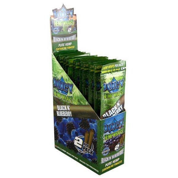Juicy Jays Hemp Wraps Black N Blueberry Flavor 25 CT