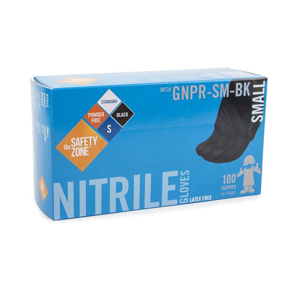 Safety Zone Black Nitrile Gloves - S - 100 ct