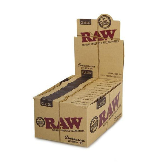 Raw Classic Connoisseur 1 1/4 Size + Tips - 24Ct