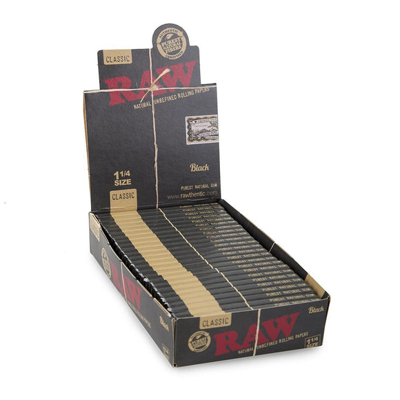 RAW Black Unrefined 1 1/4 Rolling Papers 24ct