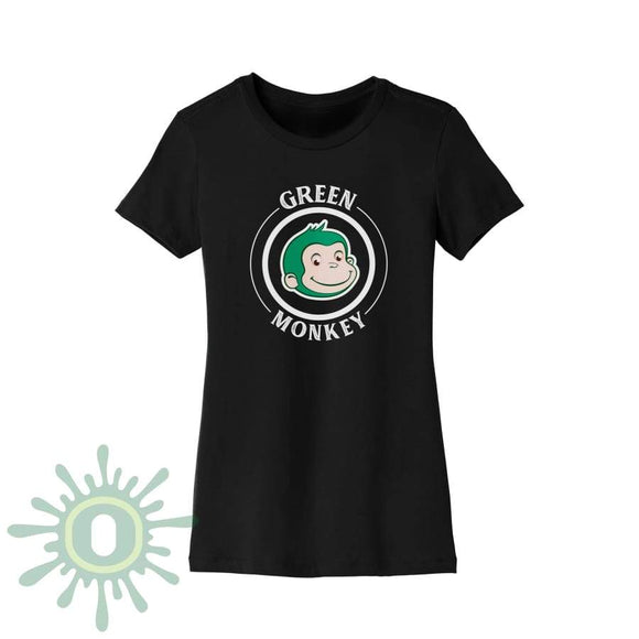 Green Monkey White Logo Womens T-Shirt - Black T-Shirts