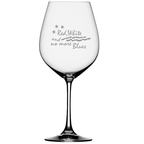 American Flag Etched Wine Glass