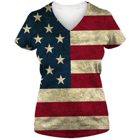 American Flag Lady V-Neck