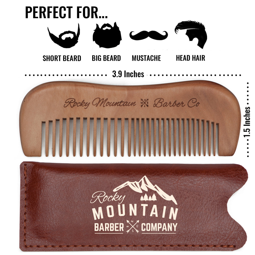 Mustache Comb - Wood with Fine and Medium Tooth with Carrying Case