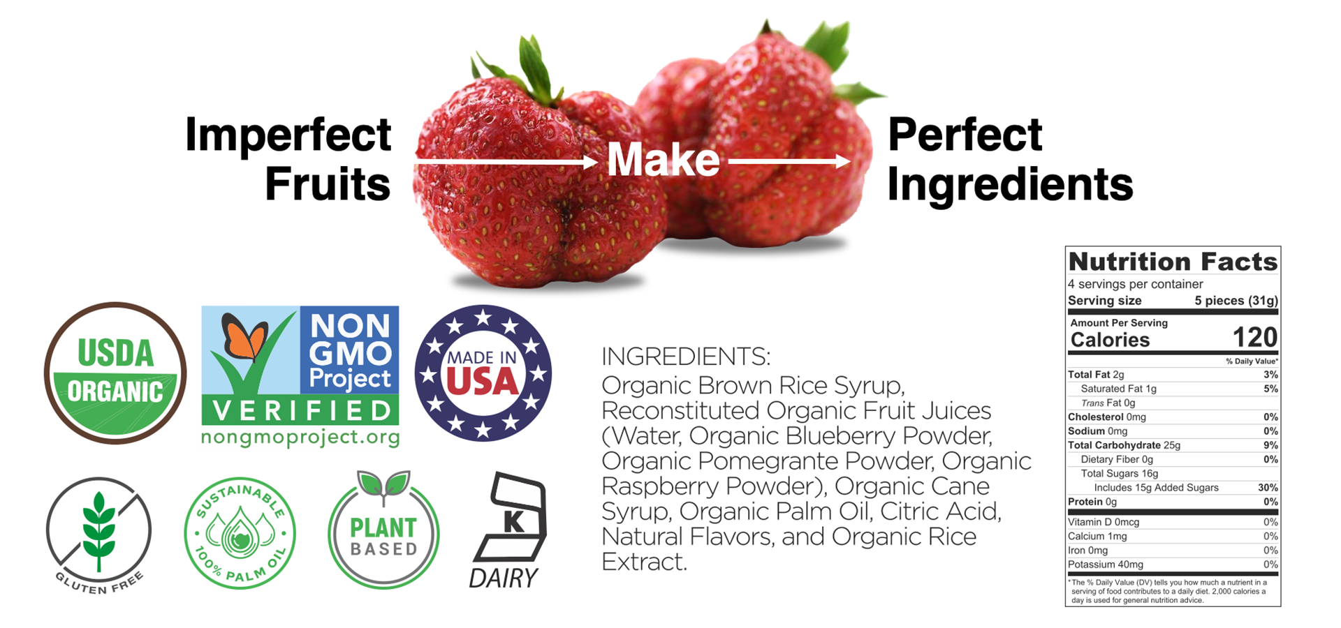 healthy fruit snacks made from real organic fruit, kosher, non GMO, vegan and gluten free