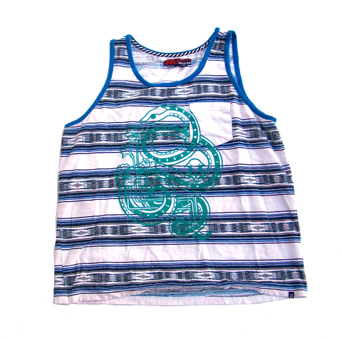 Unisex Tank Top - Royal Blue and Charcoal Stripe
