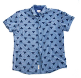 Unisex Short Sleeve Button Up - Two Tone Triangle