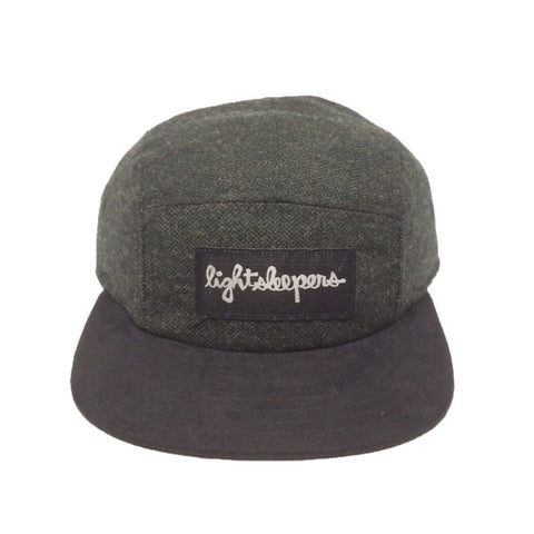 5 Panel - Hunter Herringbone & Black Suade