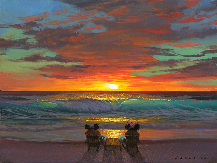 """Sharing a Sunset"" by Walfrido Garcia Featuring Mickey and Minnie Mouse"