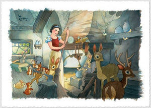 """Tidying up"" by Toby Bluth inspired by Snow White and the Seven Dwarfs"