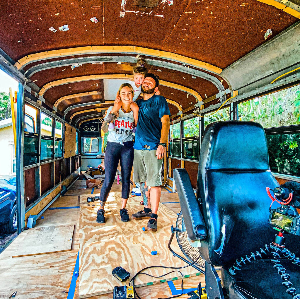 Nautical nomads inside their bus conversion