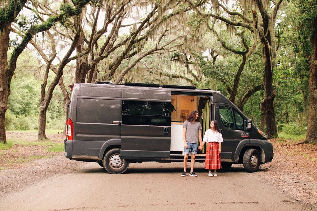 Katelynn and Ethan at the hunters vanlife outside photo with van