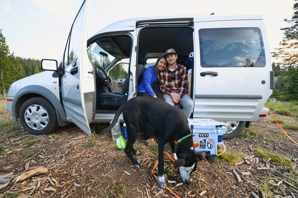 Sarah with fiance, dog, van - tiny van big living