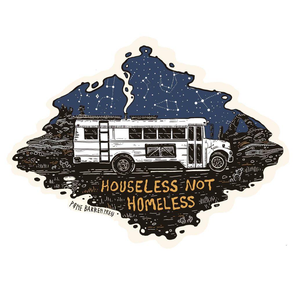 Houseless not homeless art from holly williams bus goblin