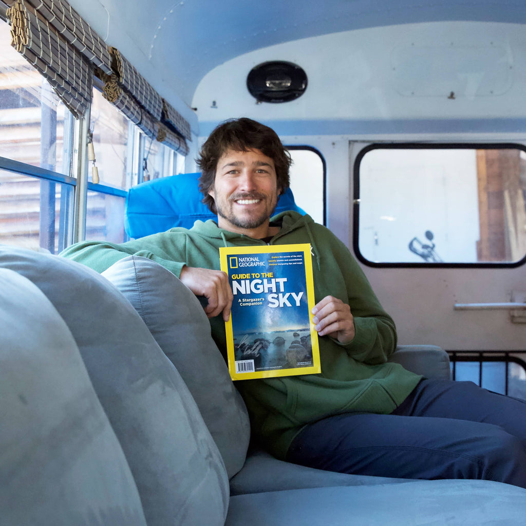 Nick from Blue bus adventure on cover of National Geo